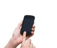 拿着在白色bac的女性手流动巧妙的电话触摸屏 库存图片