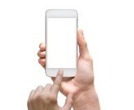 拿着在白色bac的女性手流动巧妙的电话触摸屏 免版税图库摄影