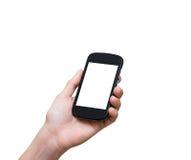 拿着在白色bac的女性手流动巧妙的电话触摸屏 免版税库存照片