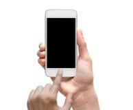 拿着在白色bac的女性手流动巧妙的电话触摸屏 库存照片