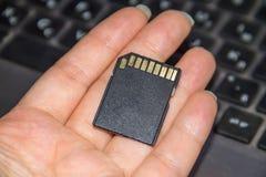 拿着在膝上型计算机背景的手SD卡片 库存照片