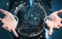 拿着在行星地球3D翻译的商人全球网络 图库摄影