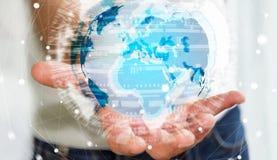 拿着在行星地球3D翻译的商人全球网络 免版税图库摄影