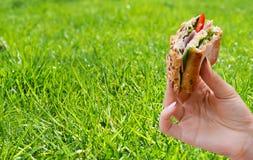 拿着在野餐的人的手一个健康三明治 免版税图库摄影