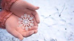 拿着在雪的手套装饰品 免版税库存图片
