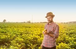 拿着在领域风景前面的愉快的农夫土豆 图库摄影