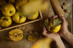 拿着在麻袋布土气backgrou的男性手苹果柑橘 库存图片