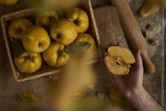 拿着在麻袋布土气backgrou的男性手苹果柑橘 免版税库存图片