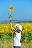 拿着在他的后面后的帽子的可爱的男孩向日葵在黄色领域蓝天户外 图库摄影