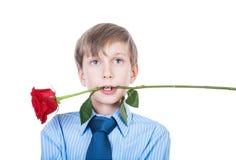 拿着在他的牙(爱概念)的美丽的滑稽的浪漫孩子一朵玫瑰 免版税库存图片