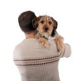 拿着Borkie狗的人 免版税库存图片
