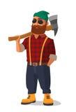 拿着在他的肩膀的伐木工人一个轴 黄色鞋子和红色格子花呢上衣 库存例证