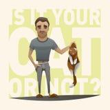 拿着在他的胳膊的人猫 免版税库存照片