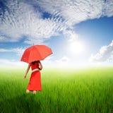 拿着在绿色米的红色妇女伞在太阳天空调遣 免版税库存图片