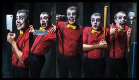 拿着在dack的可怕小丑一把刀子 日历概念日期冷面万圣节愉快的藏品微型收割机说大镰刀身分 免版税库存照片