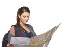 拿着地图的妇女 库存图片