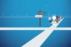 拿着地图的领导带领队成功,领导和企业概念 库存例证
