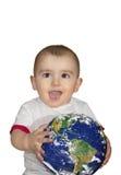拿着地球的婴孩 免版税库存照片
