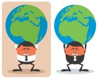 拿着地球的生意人 图库摄影