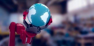 拿着地球3d的机器人爪的播种的图象的综合图象 免版税库存照片