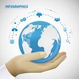拿着地球Infographics的手  免版税库存照片