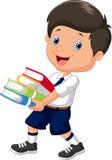 拿着堆书的动画片男孩 免版税库存图片