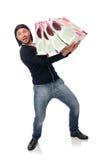 拿着塑料袋的年轻人被隔绝在白色 图库摄影