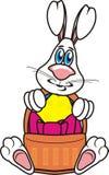 拿着复活节篮子的兔宝宝 免版税图库摄影