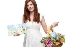 滑稽的欢乐的复活节女孩 免版税库存图片