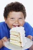 拿着大切片蛋糕的一个超重男孩的特写镜头 库存照片