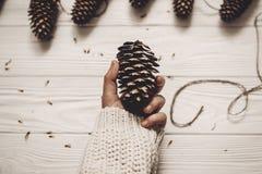 拿着大杉木锥体的手 圣诞节土气装饰概念 Woma 库存照片