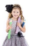 拿着大蜡笔的美丽的小女孩 库存照片