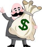 拿着大袋子金钱的商人 免版税库存图片