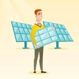 拿着太阳电池板传染媒介例证的人 库存例证