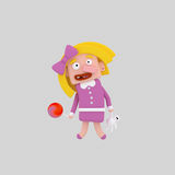 拿着女用连杉衬裤和红色糖果的白肤金发的女孩 皇族释放例证
