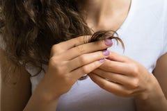 拿着她的卷发的末端一个女孩的女性手 免版税图库摄影