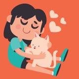 拿着她的宠物猫的逗人喜爱的女孩 向量例证