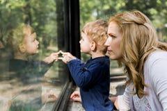 拿着她的有他的反射的美丽的妇女儿子 库存图片