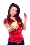 拿着妇女的苹果巧克力新 免版税图库摄影
