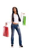拿着妇女的袋子 免版税库存照片
