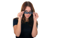 拿着妇女yong的玻璃 免版税库存图片