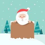 拿着委员会的圣诞老人的圣诞节例证 免版税库存照片