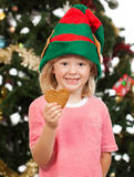 拿着姜饼曲奇饼的微笑的矮子男孩 免版税库存照片