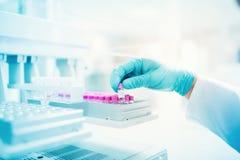 拿着实验的样品科学家在配药环境里 关闭医疗细节 免版税库存照片