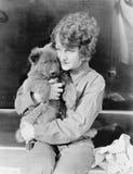 拿着小狗的妇女(所有人被描述不更长生存,并且庄园不存在 供应商保单将没有m 库存图片