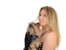 拿着小的狗约克的美丽的逗人喜爱的&# 免版税库存图片