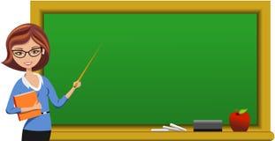 拿着尖的黑板的美丽的老师  免版税图库摄影