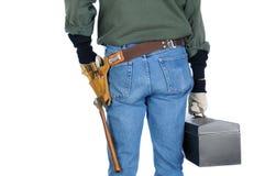 有工具箱的建筑工人 免版税库存照片