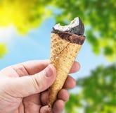 拿着巧克力冰淇凌的手 免版税库存图片