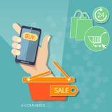 拿着巧妙的电话网上商店网市场的购物的流动人 库存例证